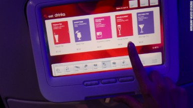 touch screen menu on board virgin america airplane