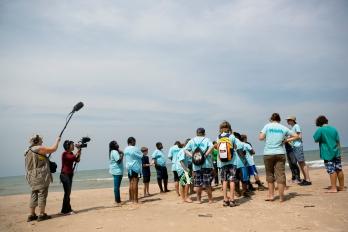 Filming a kids summer camp